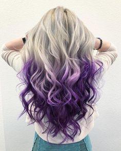 Cute Hair Colors, Hair Color Purple, Hair Dye Colors, Cool Hair Color, Purple Highlights Blonde Hair, Purple Hair Styles, Silver Purple Hair, Unicorn Hair Color, Blonde Hair Purple Roots
