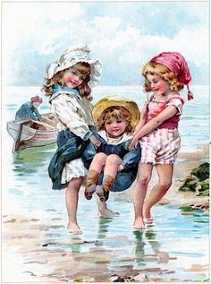 Children Playing in Ocean Image - Free from Graphics Fairy