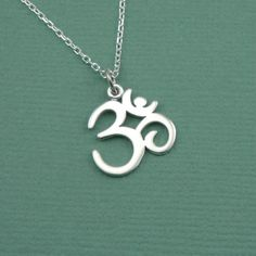 Script Om Necklace - sterling silver yoga jewelry - pendant charm - ohm on Etsy, $32.00