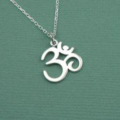 Script Om Necklace - sterling silver yoga jewelry - pendant charm - ohm. $35.00, via Etsy.
