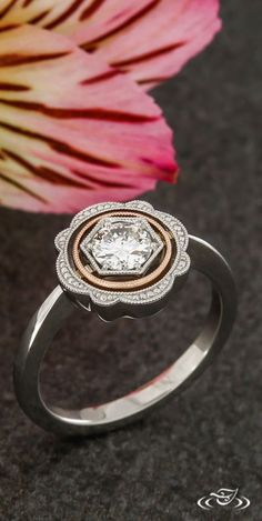 Vintage Inspired Platinum and Rose Gold Milgrain Halo Engagement Ring with Round Brilliant Cut Diamond Center. Green Lake Jewelry 120788