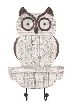 Rustic Owl Wall Decor with Hook