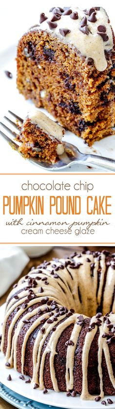 Moist, rich Chocolate Chip Pumpkin Cake infused with chocolate and bathed in in…
