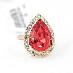 Ringsent Adjustable Big Drop Lotus Red Swarovski Crystal Rings ...