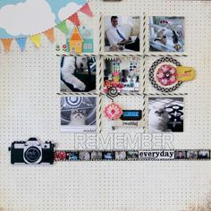 Digital image of camera with Heidi Swapp words: Smile you are fabulous. Tiny pictures printed in a strip then place behind Tim Holtz film strip ribbon.