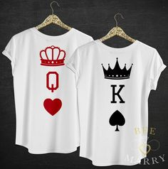 QUEEN T-Shirt KING Top Wedding Gift Mr Mrs Matching His Hers Cards Casino Hearts