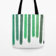 Green Striped Tote Bag - Grocery Bag - Beach Bag - Book Bag - Original Art Green Paint Stripes - Made to Order