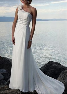 ROMANTIC CHIFFON SHEATH ONE SHOULER WEDDING DRESS FOR YOUR BEACH WEDDING LACE BRIDESMAID PARTY COCKTAIL EVENING GOWN