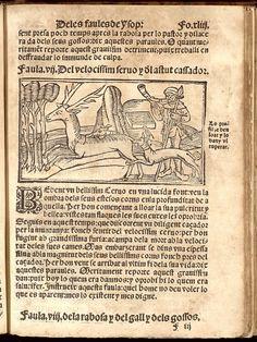 Libre del savi he clarissim fabulador Isop ystoriat e notat als marges del libre. Estampat en Barcelona : en casa de Sanso Arbus, 1576 (Biblioteca de Catalunya)