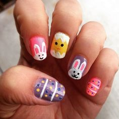 Cute bunnies easter nails