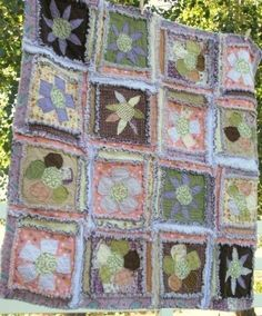pics of rag quilts with apliquae | PATTERN Rag Quilt Sewing Flower Applique Baby by avisiontoremember