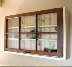 Recycled Window w/ Upcycled Rustic Pine Display Shelf Cabinet