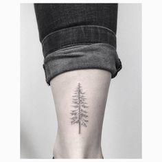 Fine line pine tree tattoo on the right Achilles heel. Tattoo...