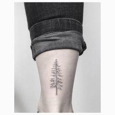 Fine line pine tree tattoo on the right Achilles heel. Tattoo...