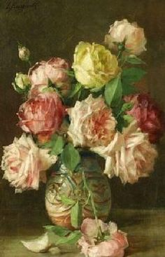 Barzanti, Licinio; Oil on Canvas Painting, signed, An Arrangement of Roses.