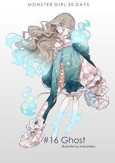 Embedded : Monster Girl 30 days : Ghost : Art by MaruNeko Monster Girl Encyclopedia, Anime Monsters, Cute Monsters, Monster Design, Monster Art, Monster Girl Manga, Pretty Art, Cute Art, Character Concept