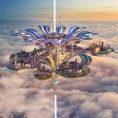 Fantasy City, Fantasy Castle, Fantasy Places, Fantasy World, Fantasy Art Landscapes, Fantasy Landscape, Fantasy Artwork, Futuristic City, Futuristic Architecture