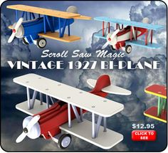 Scroll Saw Magic Vintage 1927 Bi-Plane Wood Toy Plan Set
