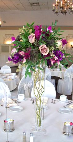 Tall Pilsner Centerpiece of antique purple roses with curly willow branches in the vase for Polo Fields Michigan Wedding - kind of like the idea of curly willows in the vase Tall Wedding Centerpieces, Floral Centerpieces, Floral Arrangements, Wedding Decorations, Tall Centerpiece, Curly Willow Centerpieces, Deco Floral, Floral Design, Church Wedding Flowers