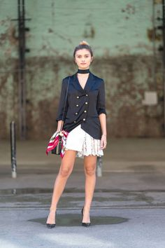 91 street style photos of Australian fashion week: Black double breasted blazer worn with a matching black choker