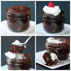DIY Microwave Mason Jar Brownie Lava Cake Recipe from The Yummy Life here. Really easy dessert using a brownie mix (she tried three brands and tells you which one she liked best) and Dove Dark Chocolate Promise candy pieces. *One image download.