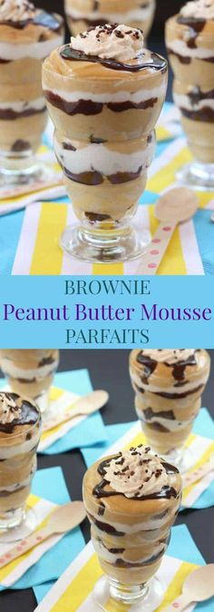 Brownie Peanut Butter Mousse Parfaits - layers of chocolate and peanut butter! One of the best desserts I've made! Plus a gluten free option!   cupcakesandkalechips.com