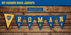 #Banderines de cumple con el nombre, más banderines extras #boca #cumple #kitimprimible #futbol #miah Minion Candy, Hello Kitty, Baby Shower, Bar, Roman, Ideas, Yellow Birthday, Turquoise, White People