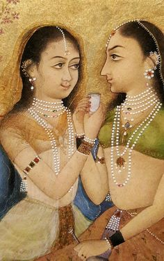 Ladies on a Terrace (detail). Opaque watercolor, black ink and gold on paper, India, Bikaner, 1675 Vintage India, Mughal Empire, Gifts For My Sister, Incredible India, Indian Art, Art And Architecture, Simply Beautiful, Princess Zelda, The Incredibles
