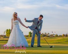 Time to get #married ... #bride grabbing #groom from the golf course! This would so be Chris.