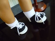 """Black Saddle Shoes /& Socks fits 18/"""" American Girl Doll Clothes"""