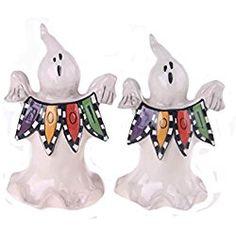 "Blue Sky Ceramic Halloween Boo Ghost Salt and Pepper Shaker Set, 5"" x 2.5"" x 4.5"""