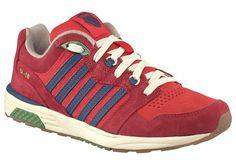 Produkttyp , Sneaker, |Schuhhöhe , Niedrig (low), |Farbe , Rot-Blau, |Herstellerfarbbezeichnung , rot, |Obermaterial , Materialmix aus Leder und Textil, |Verschlussart , Schnürung, |Laufsohle , Gummi, | ...