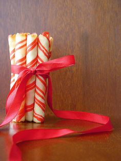 rolled tuiles that actually taste like vanilla, not candy canes. from a martha stewart recipe.