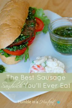 The Best Sausage Sandwich You'll Ever Eat (a.k.a. Choripán) - grill the sausage and put on a crusty hoagie roll with tomatoes, lettuce,  and chimichurri sauce #sandwich #bbq