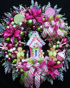 XL Christmas Gingerbread House Wreath Created In Lime Green And Hot Pink Candy Land Christmas, Christmas Gingerbread House, Green Christmas, Winter Christmas, Christmas Themes, Christmas Decorations, Christmas Ornaments, Christmas Donuts, Whimsical Christmas Trees