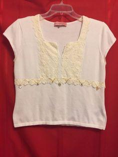 Bandolino White Top Size M Cap Sl. V Neck Lace Inset Adorned Beads & Bangles #Bandolino #KnitTop #Career