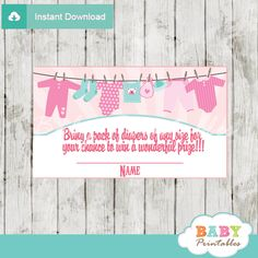 Printable Pink & Tiffany Blue Baby Girl Clothesline baby shower game Diaper Raffle Tickets. #babyprintables