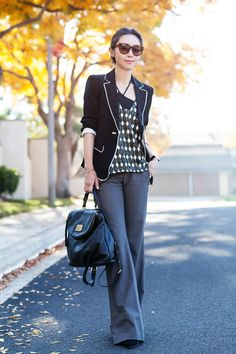 Elizabeth and James Alma Blazer in Black/Ivory, Parker Nadia Top, theory pants in grey, Marc by Marc Jacobs 'Classic Q - Mariska' Backpack, Celine sunglasses, Alexander Wang Sunniva Suede Bootie in Black, black and white style, working outfit, business outfit