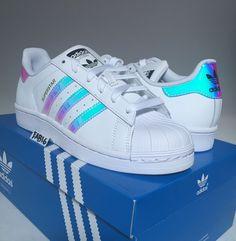 Adidas Superstar J Junior Iridescent Hologram GS AQ6278 Boys Girls Shell Toe | eBay
