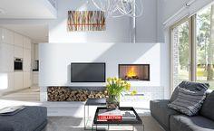 Dostępny 4A - wizualizacja 3 - mały dom z garażem jednostanowiskowym i antresolą Home Office Design, House Design, Interior Design Guide, Wood Burner, Concept Architecture, Facade House, Living Room Inspiration, Home Renovation, House Plans