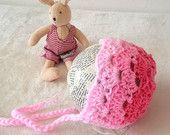 Crochet Pink shades  Bonnet  0-3 months