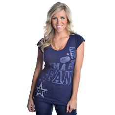 Dallas Cowboys Womens Fan Diva Kiss Me T-Shirt