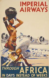 1935 Imperial Airways Through Africa - Vintage Style Airline Travel Poster