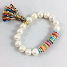 African Vinyl Tassel Stretch Bracelet with Freshwater Pearls