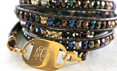 Customized wrap bracelet- engraved. Peacock color.