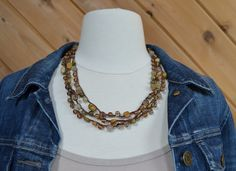 Layered Necklace: Crocheted Brown S-Lon Cord with Topaz Beads, Czech Glass Beads, and Oval & Square Wooden Beads by JennyLynCrafts on Etsy