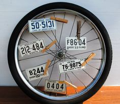 Use clothes pins on bike wheel
