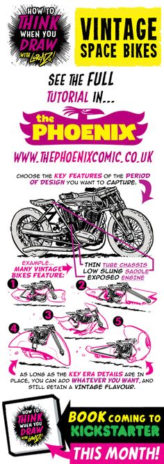 This week's tutorial for The Phoenix is How to THINK when you draw VINTAGE SPACE BIKES , here's a taster!  Tutorials BOOK coming to K...