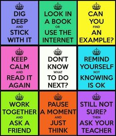 Visual reminders for students of strategies if they get stuck