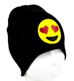 - Love Heart Eyes Emoji Beanie Knit Cap - High Quality Material - Acrylic / Cotton / Polyester - One size fits most! - Beanie cap to keep you warm and looking cool!
